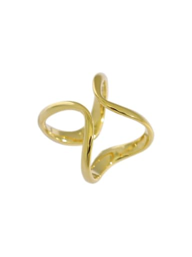 Gold [14 adjustable] 925 Sterling Silver Minimalist  Irregular lines Band Ring