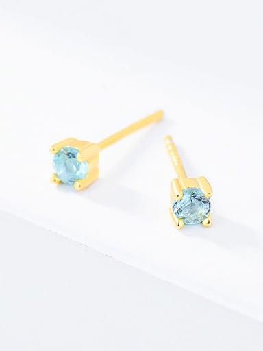 Water blue glass 925 Sterling Silver Cubic Zirconia Round Minimalist Stud Earring