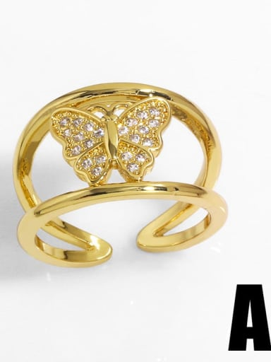 Brass Cubic Zirconia Heart Vintage Band Ring