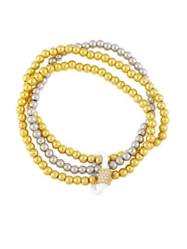 white Brass Bead Enamel Geometric Vintage Beaded Bracelet