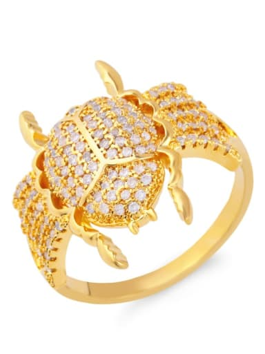 golden Brass Cubic Zirconia Insect Luxury Band Ring