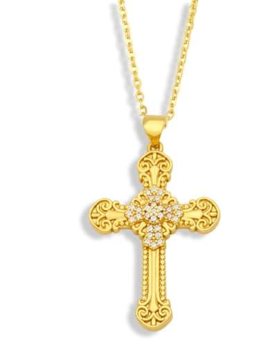 B Brass Cubic Zirconia Cross Vintage Regligious Necklace