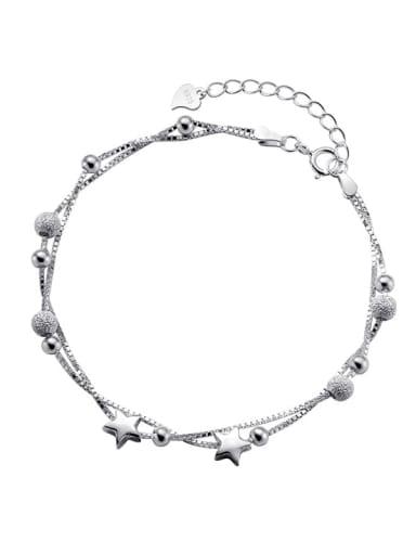 925 Sterling Silver Bead Star Minimalist Strand Bracelet