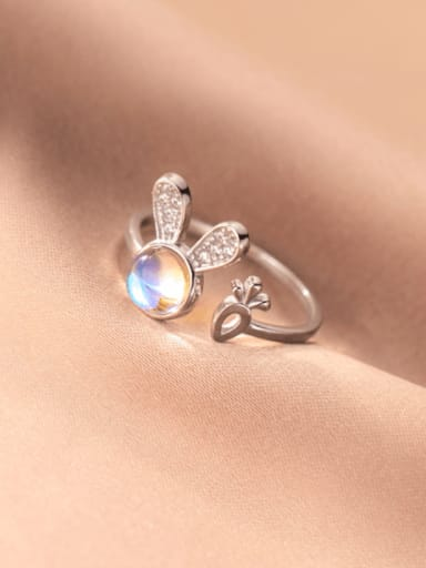silver 925 Sterling Silver Cubic Zirconia Rabbit Minimalist Band Ring
