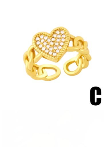 C Brass Cubic Zirconia Star Vintage Band Ring