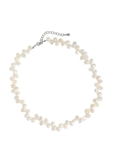 925 Sterling Silver Freshwater Pearl Geometric Bohemia Necklace