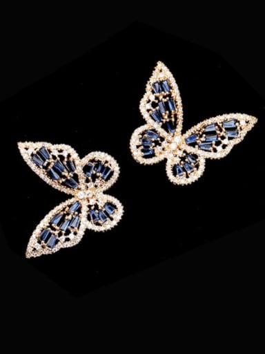 Brass Cubic Zirconia Butterfly Statement Stud Earring