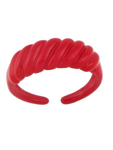 red Brass Enamel Geometric Minimalist Band Ring