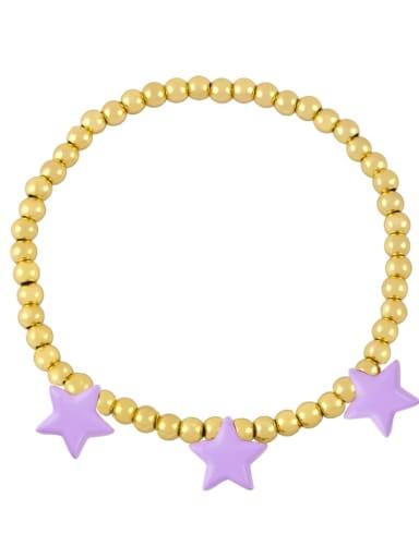 purple Brass Enamel Star Vintage Beaded Bracelet