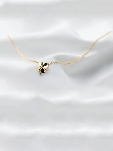Gold 925 Sterling Silver Smooth Flower Minimalist Necklace