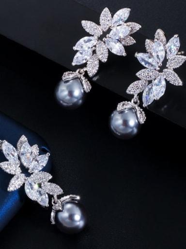 Necklace Earrings Brass Cubic Zirconia Luxury Flower Earring and Necklace Set