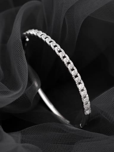 925 Sterling Silver Cubic Zirconia Round Minimalist Band Bangle