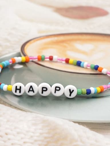 QT B200115A Stainless steel MGB Bead Multi Color Letter Bohemia Stretch Bracelet