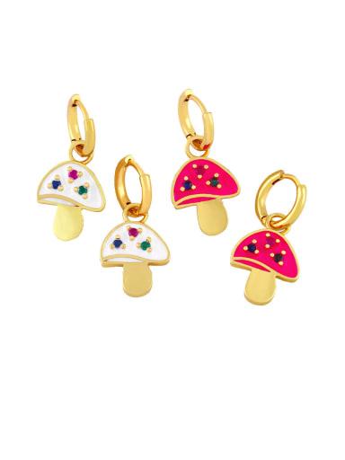 Brass Enamel Mushroom Bohemia Stud Earring