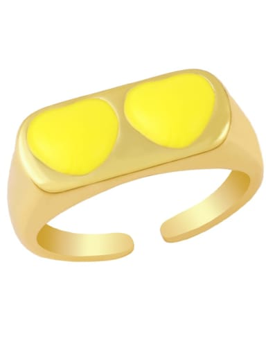 yellow Brass Enamel Heart Minimalist Band Ring
