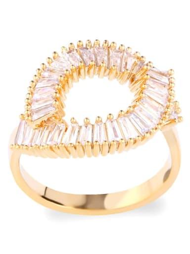 golden Brass Cubic Zirconia Geometric Statement Cocktail Ring