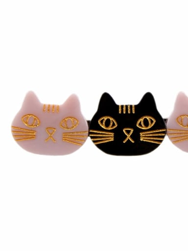 Black Pink Cellulose Acetate Cute Cat Hair Barrette