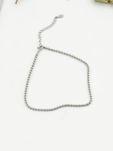 925 Sterling Silver Round Bead  Minimalist  Anklet