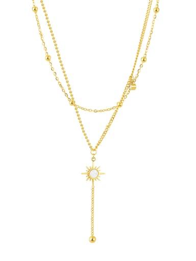 2043 gold necklace Titanium Steel Cubic Zirconia Tassel Minimalist Multi Strand Necklace