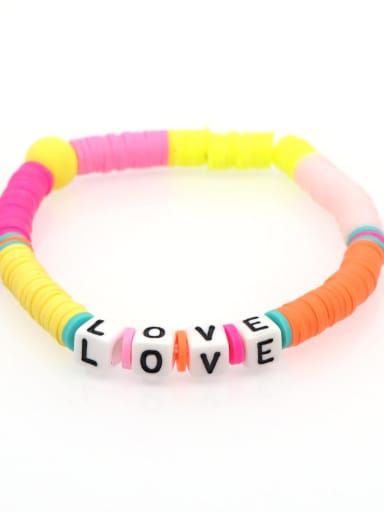 QT B200011G Stainless steel Multi Color Polymer Clay Letter Bohemia Stretch Bracelet