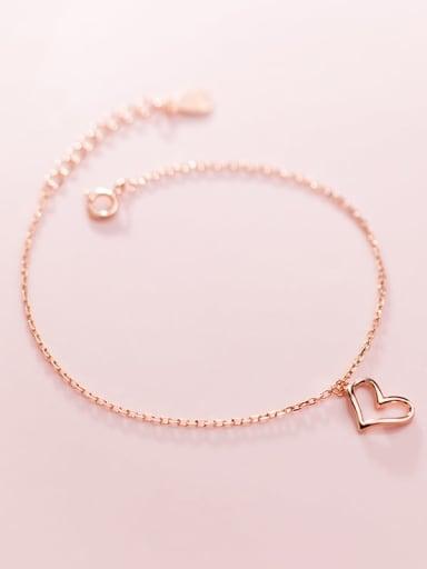 925 Sterling Silver Heart Minimalist Link Bracelet