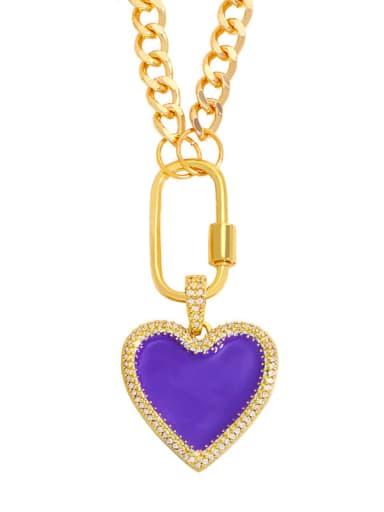 violet Brass Enamel Heart Minimalist Necklace