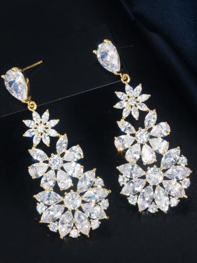 Golden white stone Brass Cubic Zirconia Flower Luxury Cluster Earring