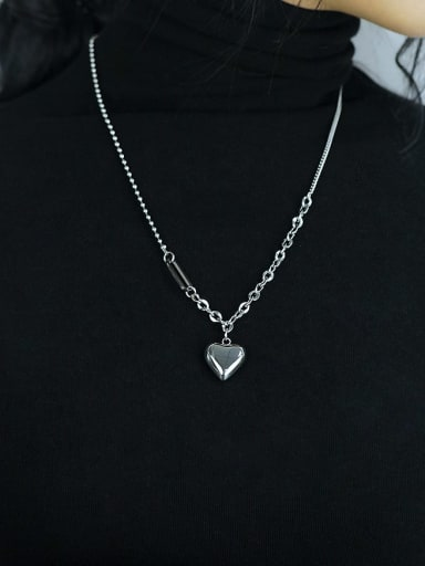 Titanium Steel Smooth Heart Vintage Long Strand Necklace