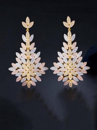 Tricolor Brass Cubic Zirconia Flower Luxury Chandelier Earring