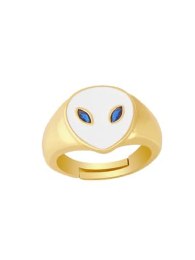 white Brass Enamel Heart Minimalist Band Ring