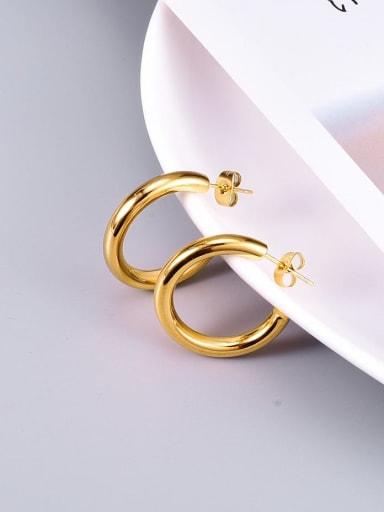 Titanium smooth Round Minimalist Stud Earring