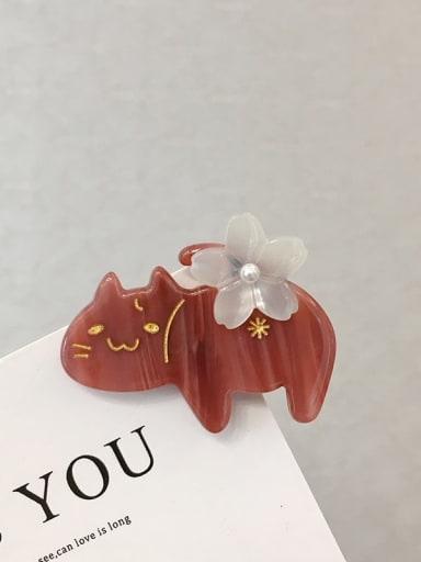 gules Alloy Cellulose Acetate Cute Cat  Hair Barrette