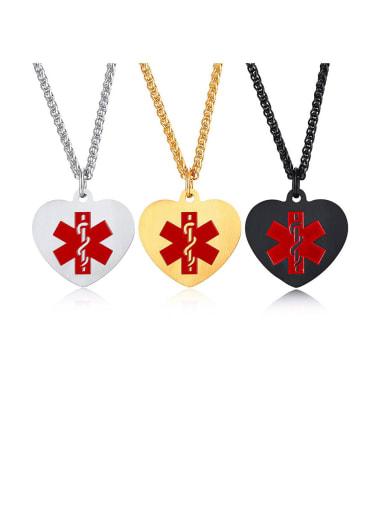 Titanium Enamel Heart Minimalist Necklaces
