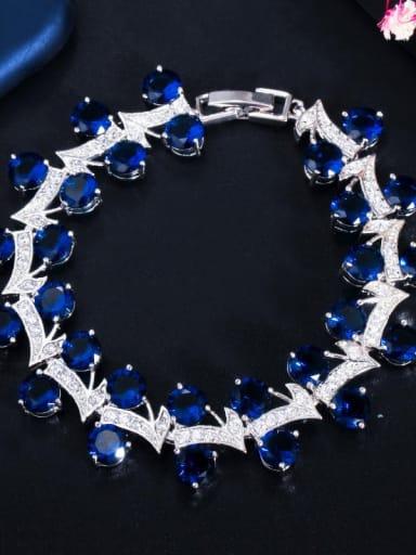 blue Copper Cubic Zirconia Leaf Luxury Bracelet