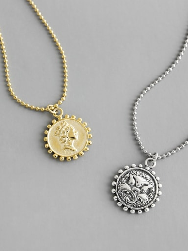 S925 Sterling Silver retro portrait coin geometric round brand round bead necklace