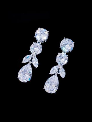 Brass Cubic Zirconia Water Drop Luxury Cluster Earring