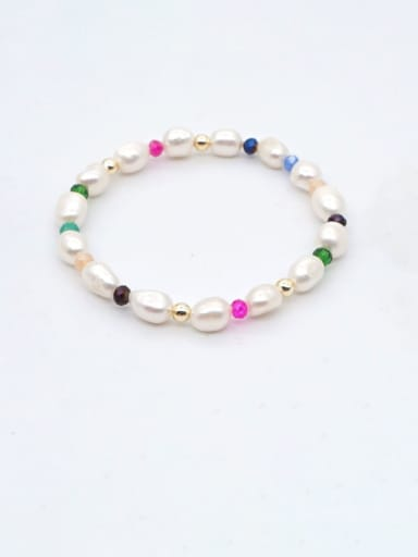 Stainless steel Freshwater Pearl Multi Color Round Bohemia Stretch Bracelet