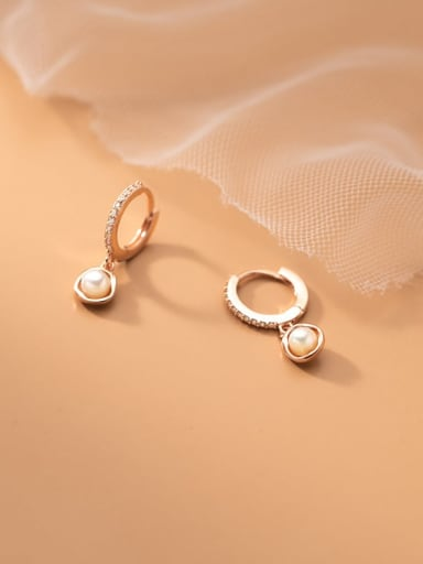 925 Sterling Silver Imitation Pearl Geometric Minimalist Huggie Earring