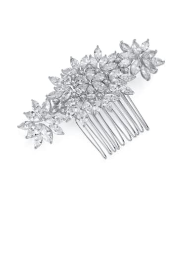 Copper Cubic Zirconia Luxury Flower Hair Comb