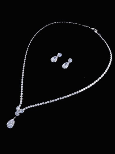 Brass Cubic Zirconia  Trend Water Drop Earring and Necklace Set