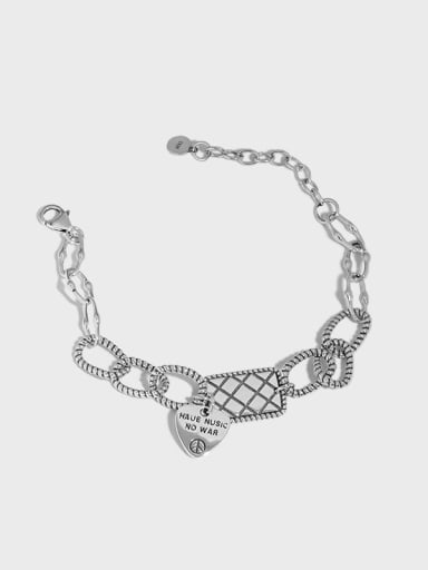 925 Sterling Silver Geometric Vintage Love square brand chain  Link Bracelet