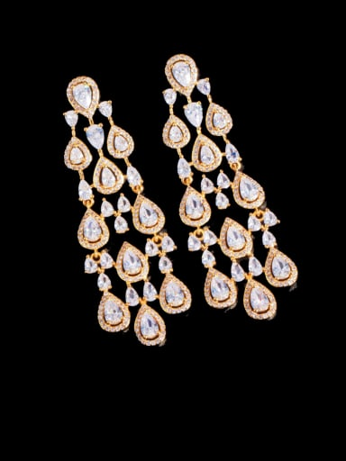 Golden Brass Cubic Zirconia Tassel Statement Cluster Earring