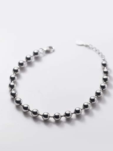 S925 silver bracelet 0.5cm 925 Sterling Silver Bead Round Minimalist Beaded Bracelet