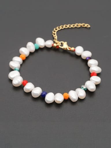 Stainless steel Freshwater Pearl Multi Color Irregular Bohemia Bracelet