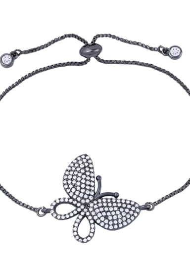 black Brass Cubic Zirconia Butterfly Dainty Adjustable Bracelet