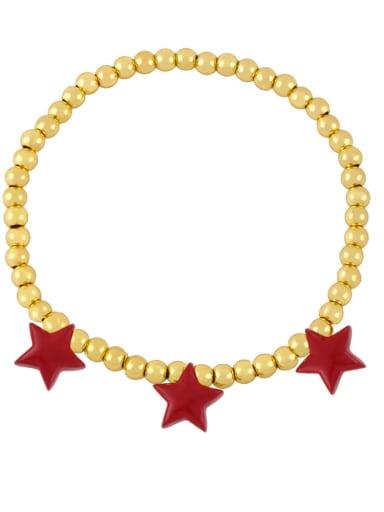 red Brass Enamel Star Vintage Beaded Bracelet
