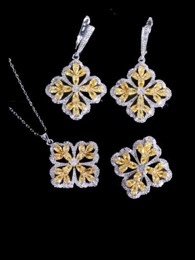 Brass Cubic Zirconia Luxury Flower  Earring Ring and Necklace Set