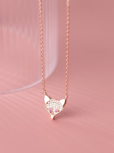 rose gold 925 Sterling Silver Cubic Zirconia Fox Cute Necklace