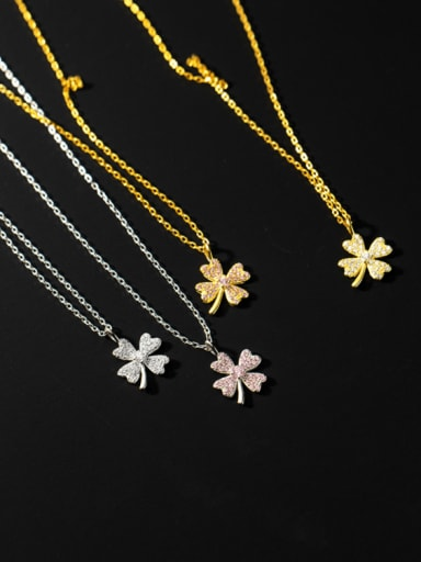 925 Sterling Silver Cubic Zirconia Flower Minimalist Necklace