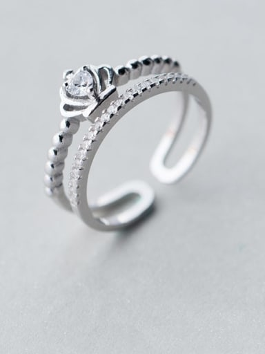 925 Sterling Silver Cubic Zirconia Irregular Minimalist Stackable Ring